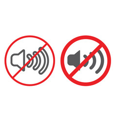 No sound line and glyph icon prohibited and vector
