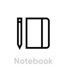 notebook book icon editable line vector image