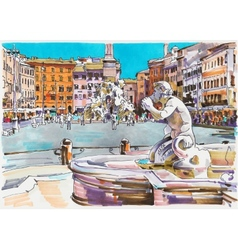 Original marker painting rome italy cityscape vector