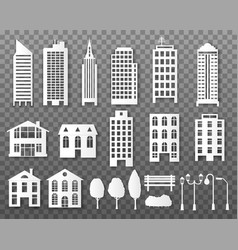 Paper buildings origami papercut city houses vector