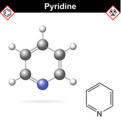 Pyridine organic solvent molecular structure vector image