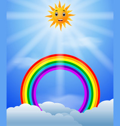 rainbow with skies and sun vector image