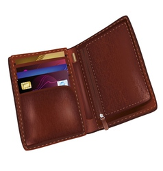 Realistic brown leather wallet vector