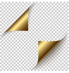 realistic golden foil paper corners set vector image