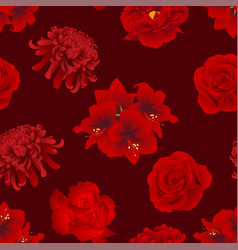 red rose chrysanthemum carnation peony and vector image