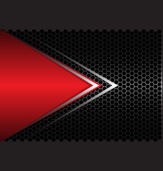 red triangle silver arrow on black hexagon mesh vector image
