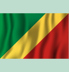 republic of the congo realistic waving flag vector image