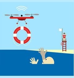 rescue drone with lifebuoy 5g technology vector image