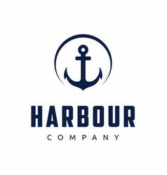 retro vintage anchor with circle logo design vector image