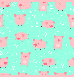 seamless pattern funy little cute pigs in snow vector image