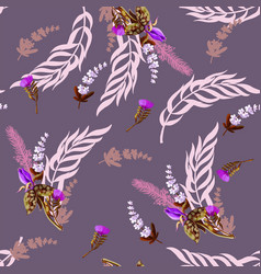 seamless pattern with tropical and wild flowers vector image
