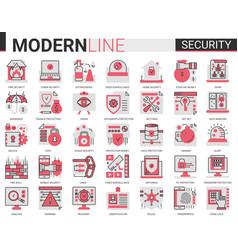 security flat line concept symbols data pc vector image