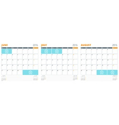 Set of Calendar Templates for June July August vector image