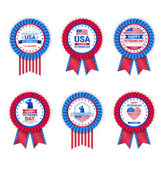 set of veteran day medals isolated on white vector image