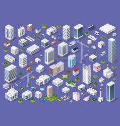 set urban flat buildings vector image