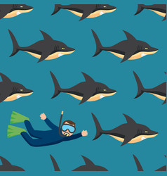 sharks and scuba diver seamless pattern vector image