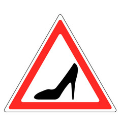sign womans shoe red triangle woman driving car vector image