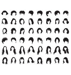 Silhouettes female hairstyles vector
