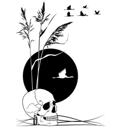 Skull cranes and reed vector