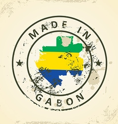 Stamp with map flag of Gabon vector image