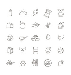 sugar icon set in thin line style vector image