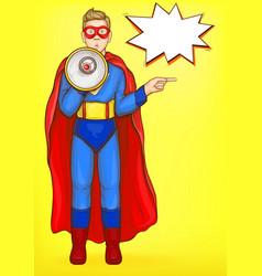 Superman boy with loudspeaker power kid wow face vector