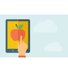 Touch screen tablet with apple icon vector