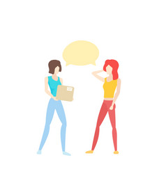 two girls speaking one holding a box vector image