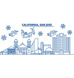 usa texas san jose winter city skyline merry vector image