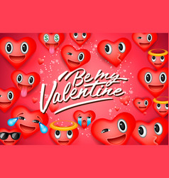 valentines day background with heart emoticons vector image