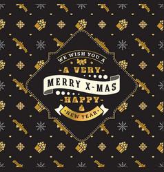 Vintage christmas greeting card typographic retro vector