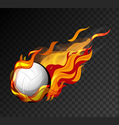 volleyball on fire shooting in black sky vector image