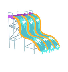 Water slides aquapark equipment cartoon vector
