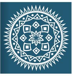 White mandala vintage blue background image vector