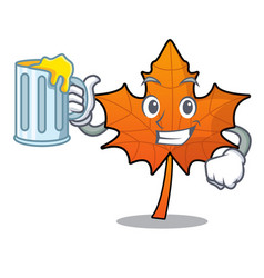 With juice red maple leaf mascot cartoon vector