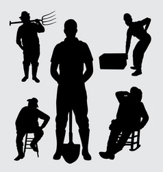 Worker people silhouette vector