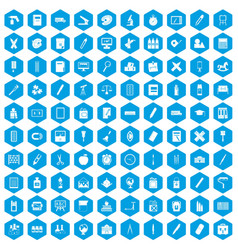 100 stationery icons set blue vector image vector image