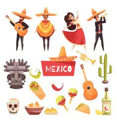 Mexico decorative icons set vector