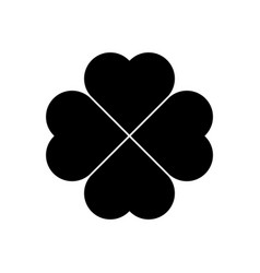 shamrock silhouette - black four leaf clover icon vector image vector image