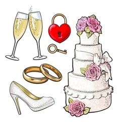 Wedding icons - cake rings glasses of champagne vector