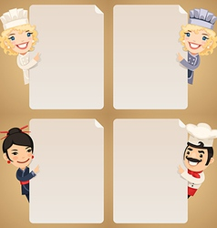 chefs looking at blank posters set vector image vector image