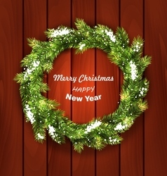 Christmas Wreath with Snow vector image vector image