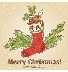 Cute Christmas hand drawn retro postcard vector image vector image