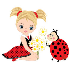 cute little girl with ladybug and flowers vector image vector image
