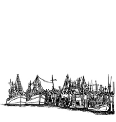 Fishing boats in the harbor vector