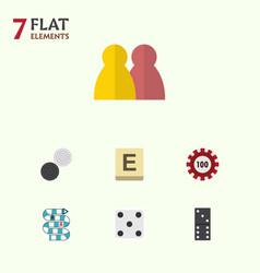 flat icon games set of people mahjong bones game vector image