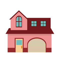 pink home garage facade structure two story vector image