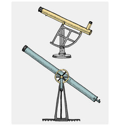 astronomical telescope vintage engraved hand vector image vector image