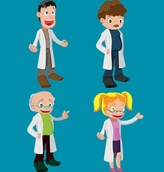 Scientist Cartoon Character Cute Set vector image