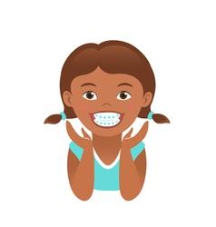Children braces happy african american girl vector image vector image